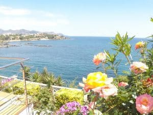 Sea view from the flowering garden of Cau de Llop vacation rental apartment Llanca Costa Brava