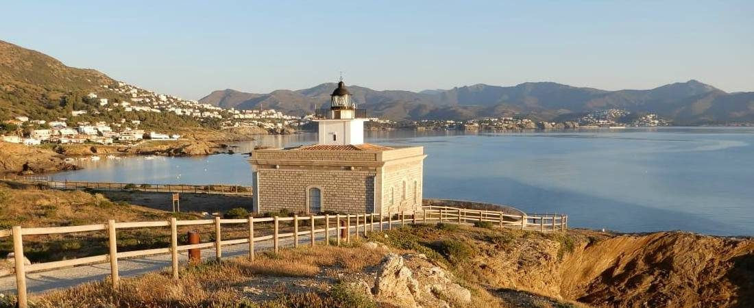 View from cami de ronda of Sarnella's lighthouse 1100x450